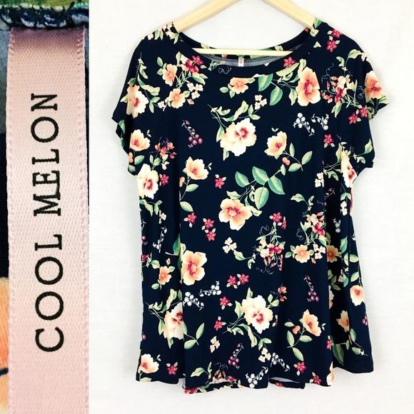 076888bd2c2e8d Cool Melon Tops - Cool Melon Navy Floral Flowy Blouse Plus Sz 2X